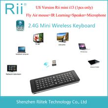 2.4G Rii Mini i13 MIC Speaker Wireless Keyboard with Air Fly Mouse for PC HTPC Smart Android TV Box SKYPE Gaming Keyboards(China)