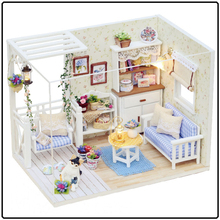 The Cat Diary Miniature Doll House Wooden Furniture Kit LED Light Box Dollhouse Craft Gift