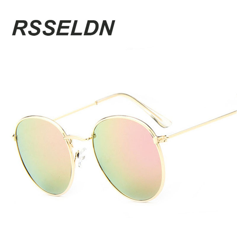 RSSELDN Fashion Vintage Round Sunglasses Women men female brand Metal Frames Mirror Lenses Sun Glasses For oculos de sol UV400<br><br>Aliexpress