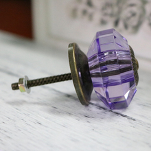Acrylic Faceted Kitchen Cabinet Hardware Knob Purple Cupboard Wardrobe Drawer Knob Door Pull Handle
