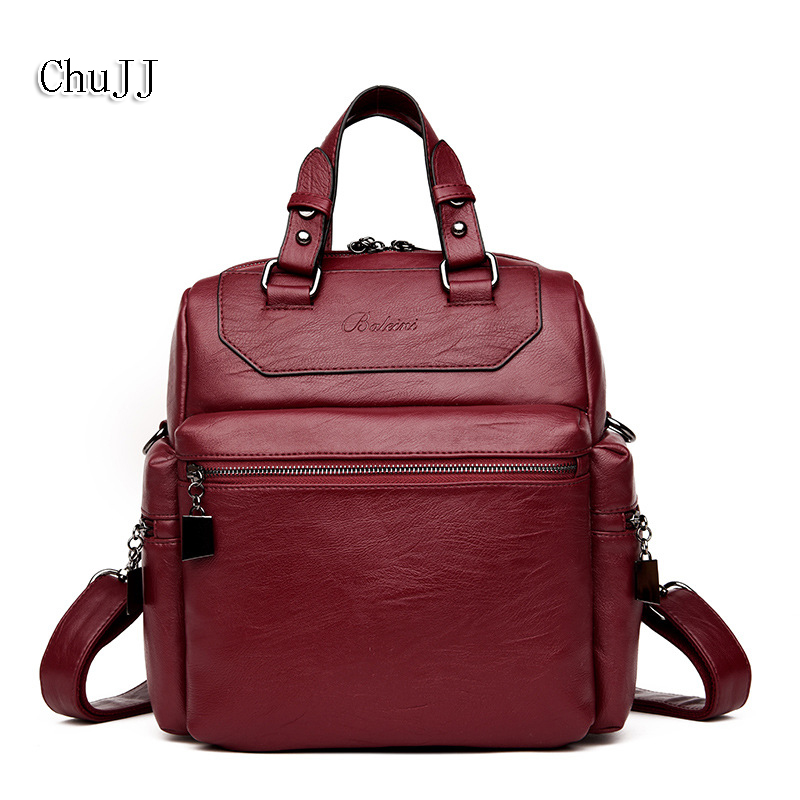 Chu JJ Womens Leather Handbags Shoulder CrossBody Bag Satchels Women Bags Ladies Multifunction Tote Bag back pack<br>