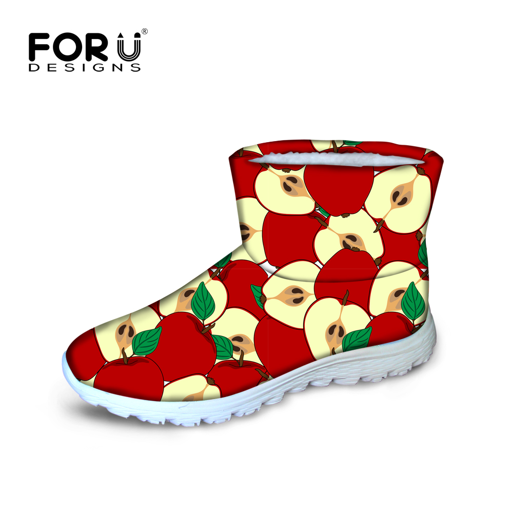 FORUDESIGNS Snow Boots 2017 Winter Brand Warm Non-Slip Waterproof Women Flat Ankle Boots High Quality 3D Fruits Printed Shoes<br>
