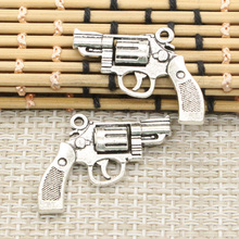 10pcs Charms pistol revolver gun 29*22mm Tibetan Silver Plated Pendants Antique Jewelry Making DIY Handmade Craft(China)