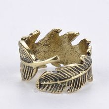Vintage Feather Ring General Wholesale Charms New Women Retro Jewelry Rings Punk Fashion anel aneis anillos