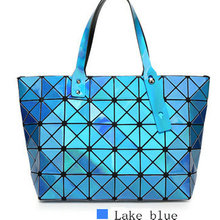 Women's mirrow laser lattice geometric tote magic cube candy color top handle commute bag female leisure shopping bags(China)