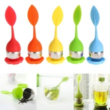 5 Color Sweet Leaf Silicone Tea Infuser Reusable Strainer with Drop Tray Novelty Tea Ball Herbal Spice Filter Tea Tool(China)