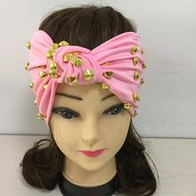 Unique Rihanna Gaga Punk Rivet Headband Star Same Style Gold Studs Hairbands Pink Red White Bandanas Custom Hand Made Headwear(China)