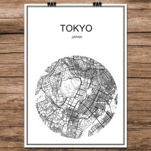 Tokyo Japan Black White World City Map Modern Print Poster Coated Paper for Cafe Living Room Home Decoration Wall Art Sticker(China)
