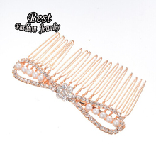 Lovely Bow Decoration Hair Comb Gold Color Female Hair Accessory Simulated Pearl Hair Jewelry(China)