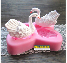 Silicone beautiful Swans Shaped Cake Decorating Mold sugar craft Soap Chocolate Kitchen Cooking Tools Dessert Making E36(China)