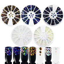 1 Wheel Mixed Size Nail Art Studs Resin Nail Art Rhinestones Shinny Jelly 3D Manicure Tips Decorations DIY Accessories BE518