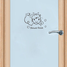 Bathroom Glass Door Stickers Cute Children Shower Door Sticker Funny Home Decoration Accessories Wall Sticker A2228(China)