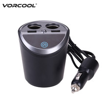 VORCOOL Multifunction 12-24V Auto Car Cigarette Lighter Dual USB Charger Adapter Cup Shaped for Smart Phone