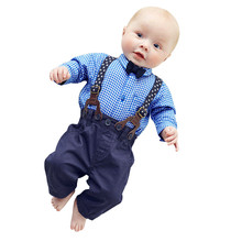 European Hot Baby Boys Cloth set Pants Sets Plaid T-shirt Top Bib Pants Overall Outfits England Preppy Style