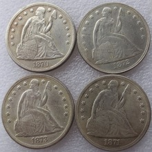 freeshipping A set of (1870-1873)CC 4pcs SEATED LIBERTY SILVER DOLLARS Copy Coins