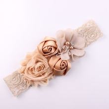Shabby Lace Baby Headband Chic Flower Girls Headband Hair Bow Flower Headband for Baby Girl Children Hair Accessories(China)