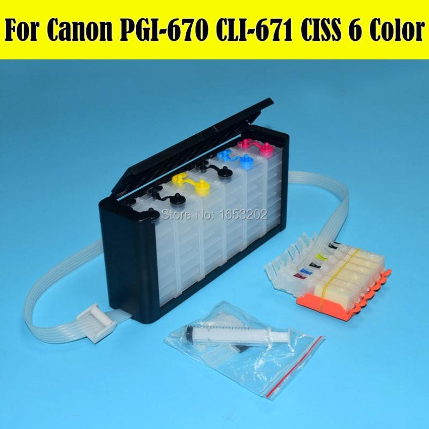 6 Color/Set PGI-670 PGI670 670 Ciss For Canon PIXMA MG7760 Printer Cartridge With Auto Reset Chip<br>
