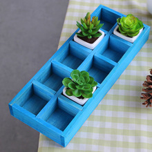 2PCS 2017 New Vintage Wooden Boxes Wooden Storage Cabinet Nine Lattice Grocery Desktop Storage Box Planting Box Plant Tray