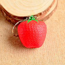 1PC Mini Cute Fruit Keychain Simulation Fruit Cell Phone Charm Bag Keychain Pendant Decor Free Shipping Strawberry