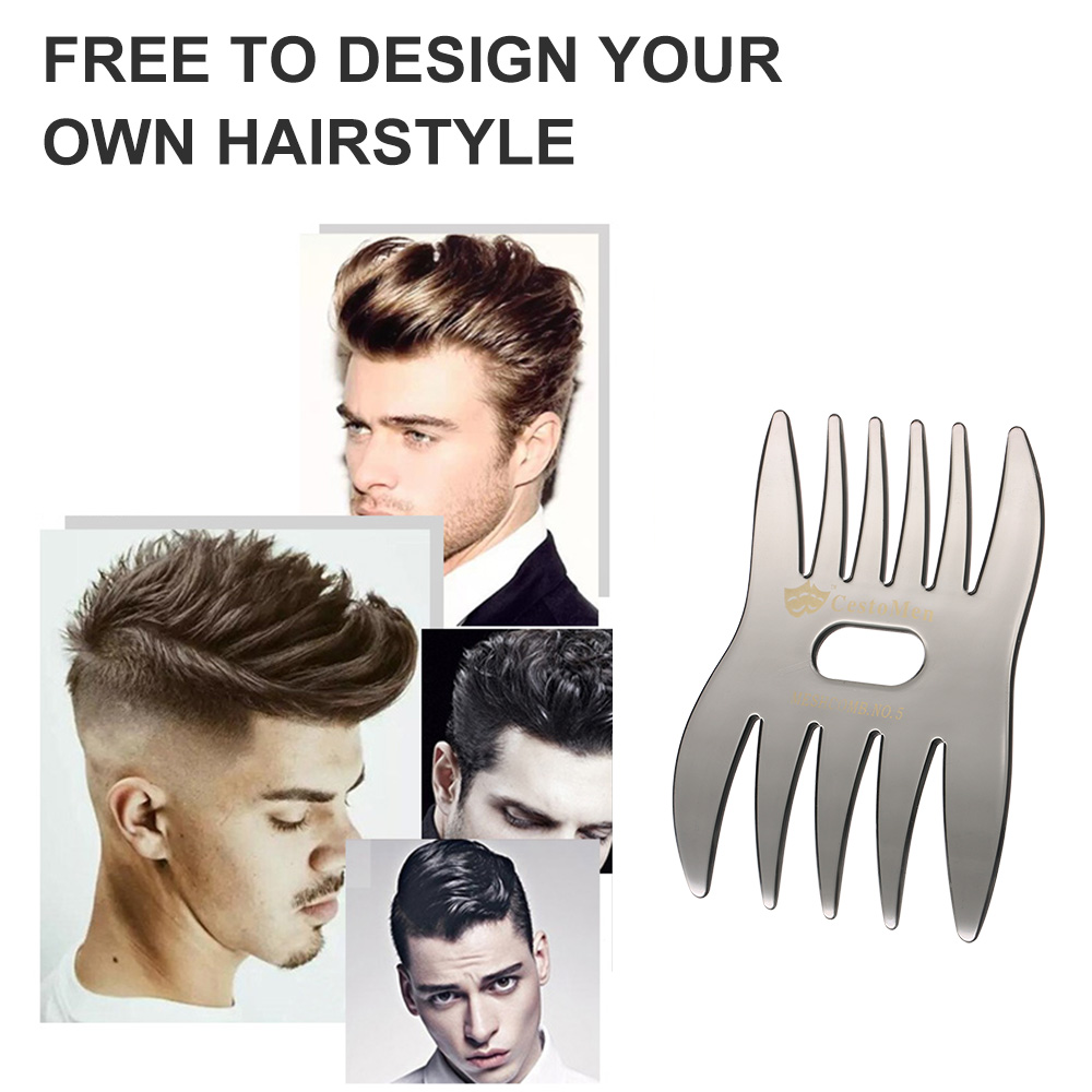 Double-sided Hair Comb Insert Afro Hair Pick Comb Male Wide Tooth Classic  Oil Slick Styling Hair Brush