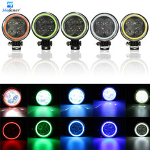 1PC LED Hi/Lo Beam Flash Work Spot Motorcycle Head Light Halo Angel Eye Ring Motors Car 4D Lens Fog Lamp