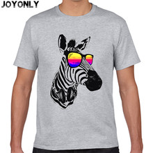 Joy Only 2017 Summer Men's Anime T-Shirt Animal Zebra DJ Music Cool Glasses Galaxy T Shirt 100% Cotton Brand Clothing Tops TA65