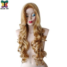 HAIR SW Golden blonde Long Curly Wig Synthetic Cosplay Rabbit Wig With Big Swap Bangs Drag Queen For Halloween Daily Use(China)
