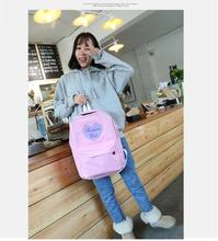2017 new fashion Harajuku ulzzang cute embroidery loving heart pink backpack schoolbag men women's travel shoulder bag