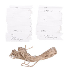 100pcs Thank You Letter Kraft Paper Wedding Favor Gift Hang Label Tag Twine (White)
