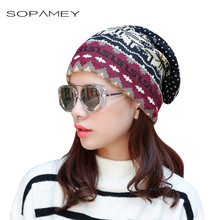 Winter Hats for Women Knitted Scarf Beanies Snowflake Deer Pattern warm Caps Fashion Hip Hop Skull Beanie girls cap Gorros 2017(China)