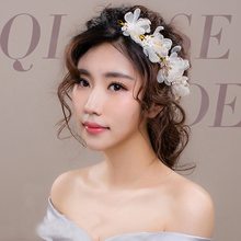 Bridal Lace Flower Hairband White Peach Ivory Pearl Jewelry Headband Woman Hari Ornaments Wedding Hair Accessories(China)