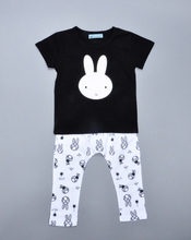 2017 baby girl clothing set summer style bunny T-Shirt+ rabbit pants kids baby boys girls clothes boys clothing sets infantil