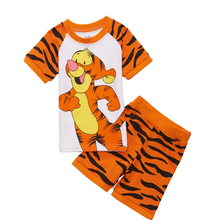 2016 Summer Children Cartoon Tiger Pyjamas Clothing Sets Boys Girls Short Sleeve Tops+Pants Suit Baby Kids Pajamas Set for 2-7T