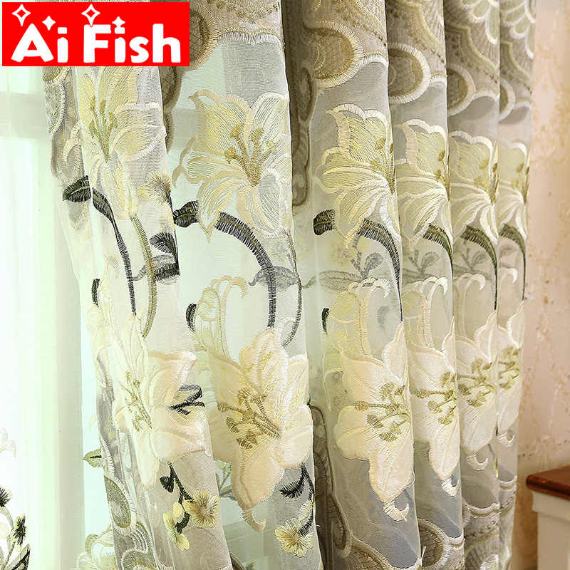 Embroidery Chenille Embroidered Semi-Blackout Curtains European Style Fabric and Tulle For Living Room Villa Bedroom M011-40