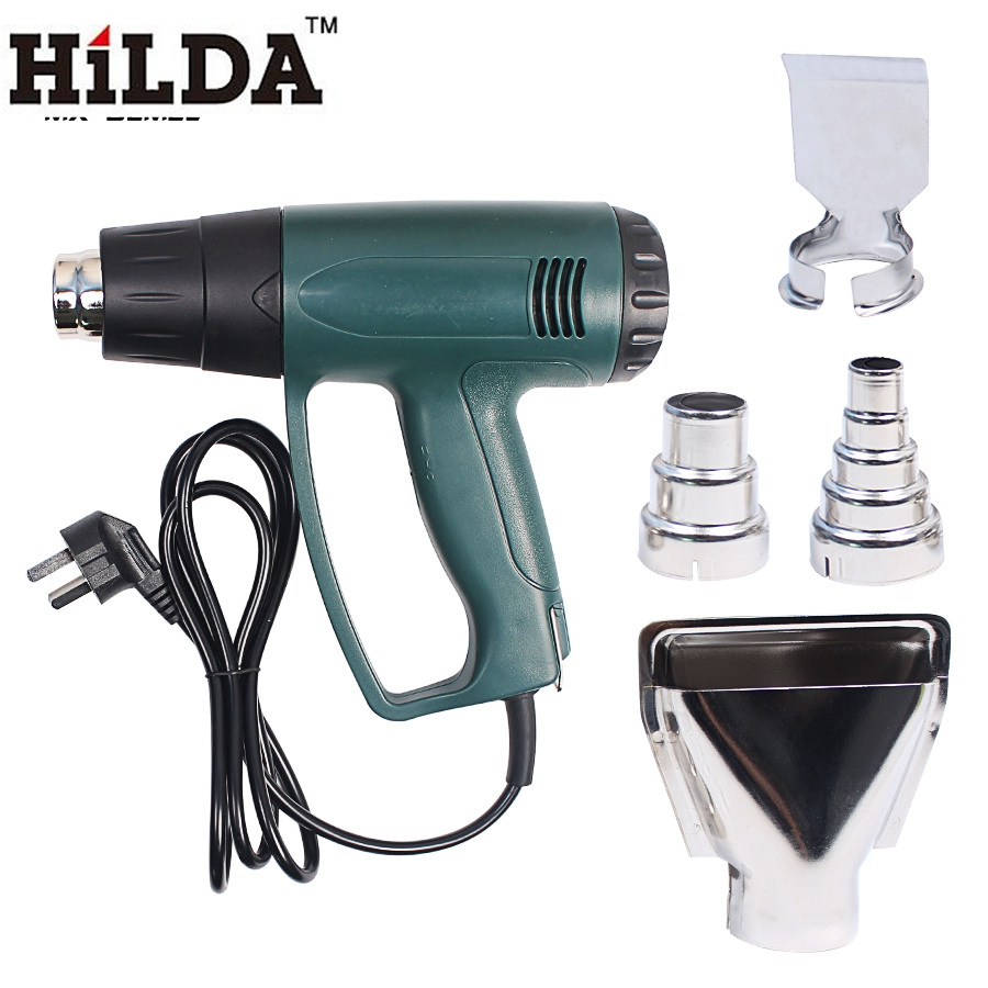 HILDA 2000W &amp; 220V EU Plug Industrial Electric Hot Air Gun Thermoregulator Heat Guns Shrink Wrapping Thermal Heater Nozzle<br>