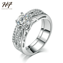Sliver Color Wedding Ring Set Engagement AAA CZ Crystal Jewelry For Women with Austrian Crystal  R547