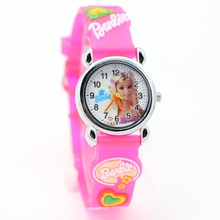 Free Shipping 3D Cartoon hello kitty Barbie princess pink doll Watch Children Kids Girls Boys Students Quartz Wristwatches.(China)