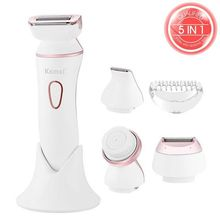 5in1 wet&dry women shaver electric female shaving machine lady trimmer hair removal face cleaning brush epilator for bikini,body