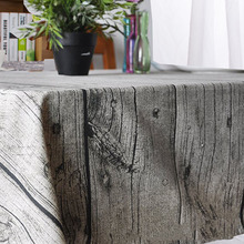 Hot Vintage Wood Fashion TableCloth Fresh Style Retro Table cloth Decorative Elegant Table Cloth Linen Oven Fridge Table Cover(China)