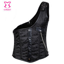 Black Brocade Buckled One-Shoulder Colete Steel Boned Steampunk Corset Vest Men Waistcoats Gothic Jacket Vintage Chaleco Hombre