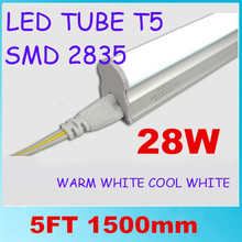 30pcs/lot free shipping LED tube T5 integrated 5ft 1500mm 28W surface mounted with accessory for lamp to lamp Milky Clear Cover