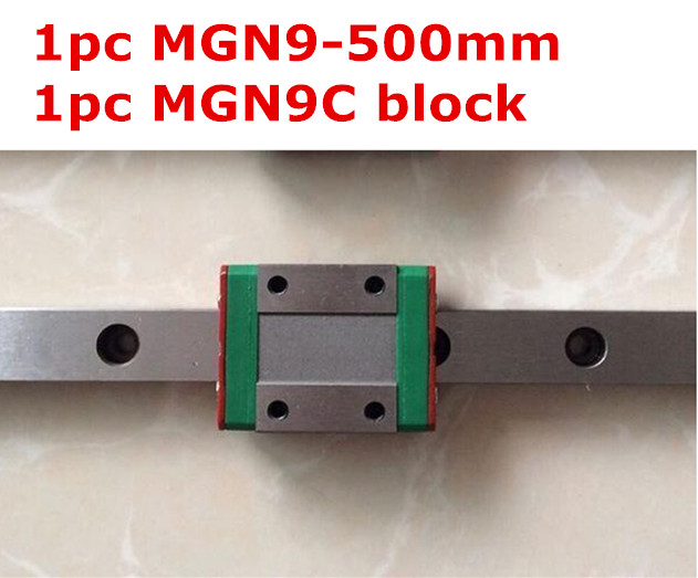 1pcs 9mm linear rail guide MGN9 - 500mm with mini MGN9C linear block<br>