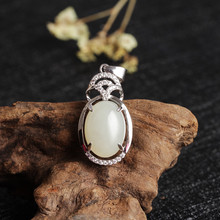 Fashion Exquisite 925 Silver Inlay Hotan Jade Pendant White Jade Pendeloque Cut Bring Certificate Jade Ornaments Generation Hair