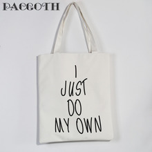 "PACGOTH Korean Style Canvas Tote Bags White Black Message Shoulder & Handbags Interior Zipper Pocket 39 x 32cm(12 5/8""), 1 Piece"