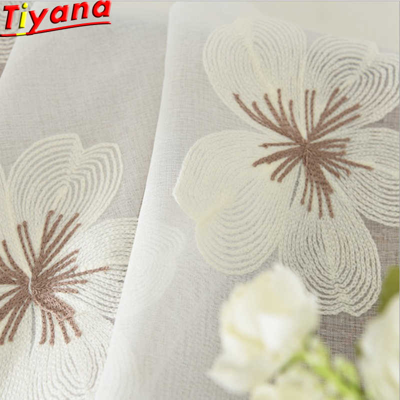Embroidered Tulle Curtains For Living Room Bedroom Window Blind Blue White Flower Hot Sale Made Curtains Free Shipping White Embroidered Curtains for Balcony Su170 *15