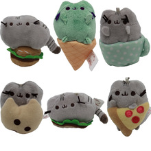 "3"" Pusheen Plush Toys Pusheen Cat With Food Style Plush Pendant Key Chain Soft Stuffed Animals Toys Doll for Kids Children Gift(China)"