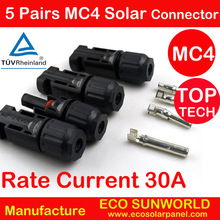 5pairs Current 30A TUV listed MC4 Connector male and female, MC4 Solar Panel Connector used for Solar Cable 2.5mm2 4mm2 6mm2