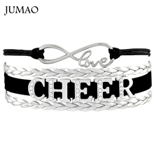 Infinity Love Rhinestones Cheer Charms Bracelets & Bangles Cheerleader Bracelets For Women Men Gift Drop Shipping(China)