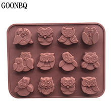 GOONBQ 1 pc 12 Holes Owl Shape Chocolate Mold Silicone Different Owl Cake Mold DIY Baking Fondant Chocolate Mould Ice Tube