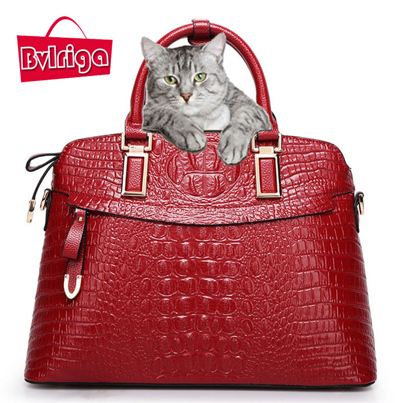 BVLRIGA Crocodile bag women leather handbag designer handbags high quality large women shoulder messenger bag bolsos tote bags<br>